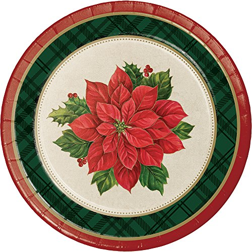 Poinsettia Accent Plate (Creative Converting 8-Count Sturdy Style Dessert/Small Paper Plates, Plaid Poinsettia)