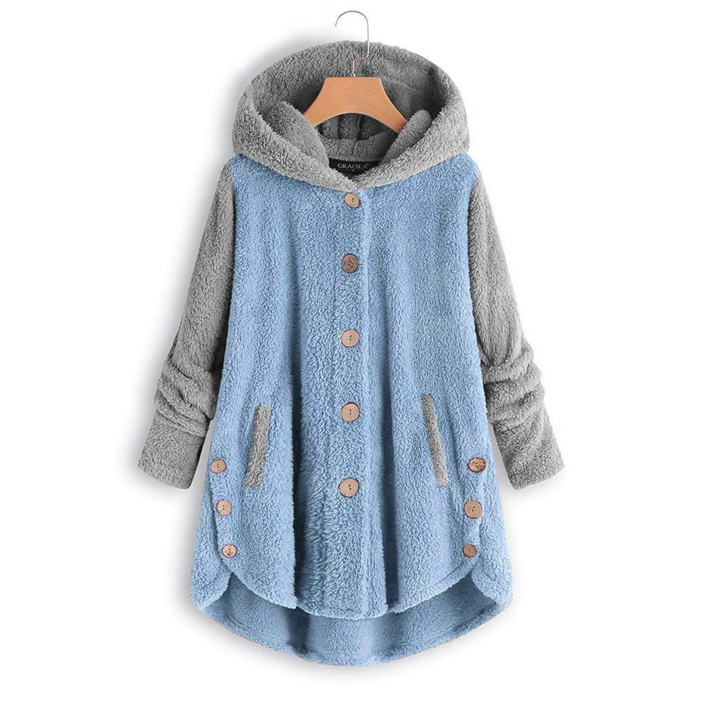QBQCBB Women Plus Size Button Coat Patchworl Tops Hooded Pullover Loose Sweater Blouse