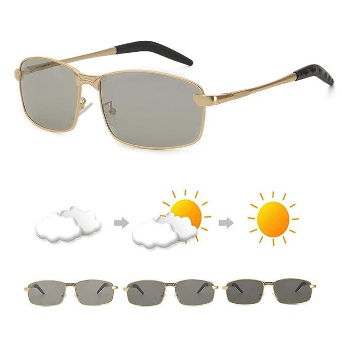 af5c9717dc OSVAW Gafas de sol Polarizadas Fotocromáticas para Hombre, 100% protección  UVB y UVA con
