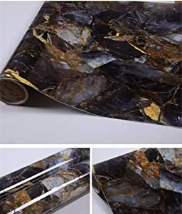 "Yancorp 16""x120"" Dark Blue Black Marble Contact Paper Removable Wallpaper Film Self-Adhesive Granite Kitchen Peel Stick Backsplash Tile Countertop Shelf Liner (16""x120"")"