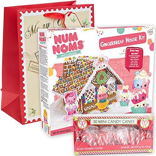 Num Noms Gingerbread House Kit Pre-baked + Pack of 30 Mini Peppermint Candy Cane + Holiday Themed Gift Basket Bag   Christmas DIY Large 29 Oz Kit   Fruity Gummies Swirl Jewels Smell So Delicious