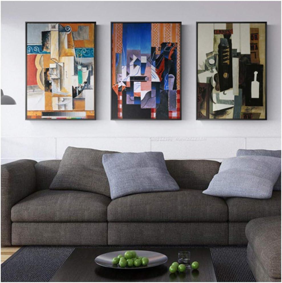 YKing1 Picasso mundialmente Famosos Carteles e Impresiones de Guitarra Cuadros de Arte de Pared para Sala de Estar Dormitorio decoración del hogar 50x70cm x3pcs sin Marco