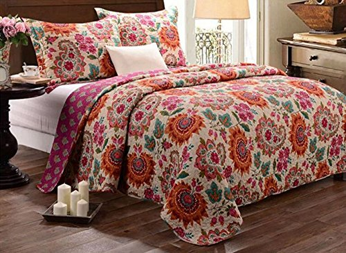 UPC 709445885028, Babycare Pro Bohomian Style Paisley and Flower Print Queen Size Quilt Sets, Cotton Quilted Bedspread Bedding Sets Queen Size 3 Pieces, 1 Quilt, 2 Pillowcaes