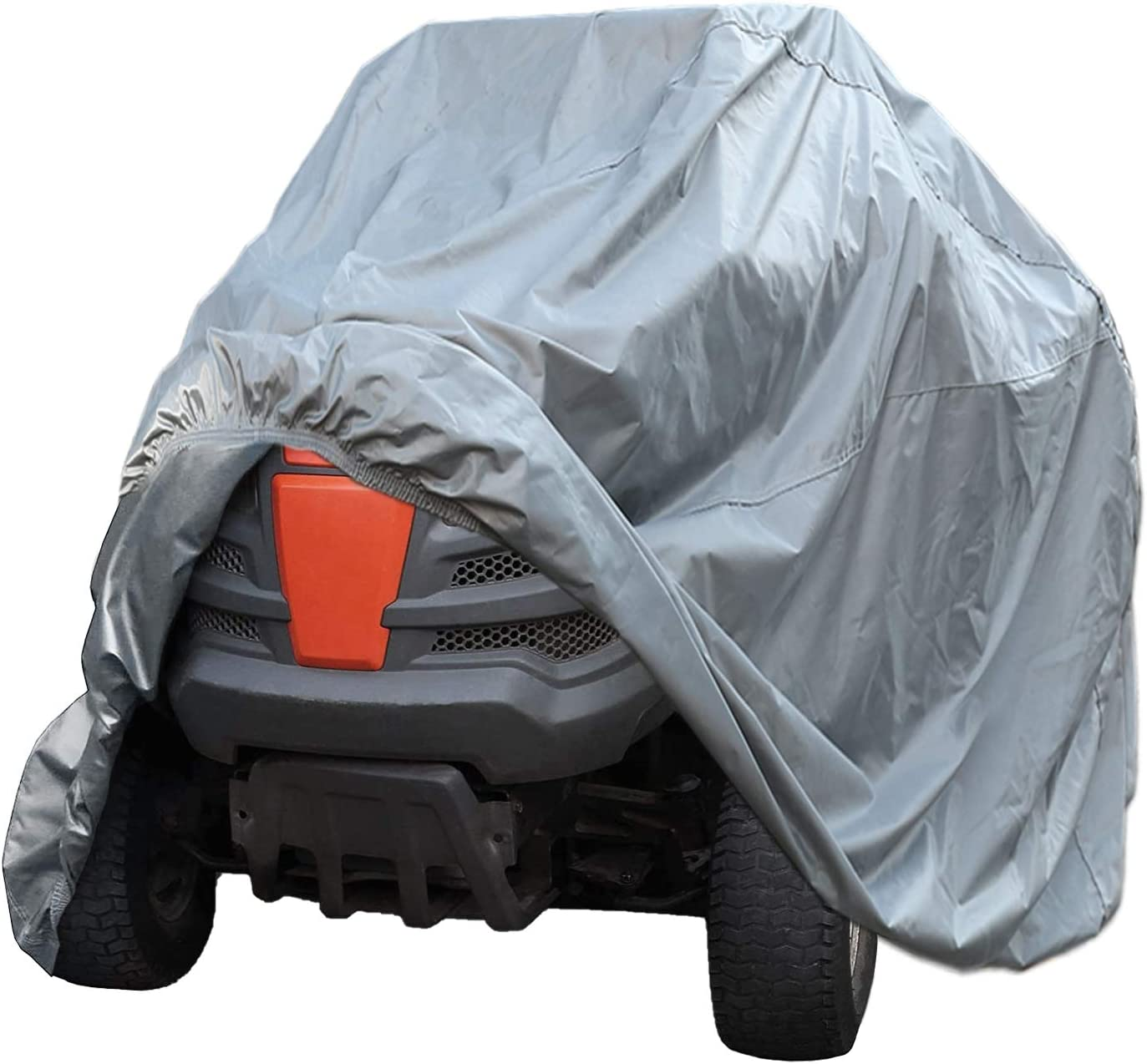SEAZEN Waterproof Heavy Duty Lawn Mower Cover, UV and Dust Protection Lawn Tractor Cover, Universal Fit Garden Tractor Cover with Drawstring & Storage Bag