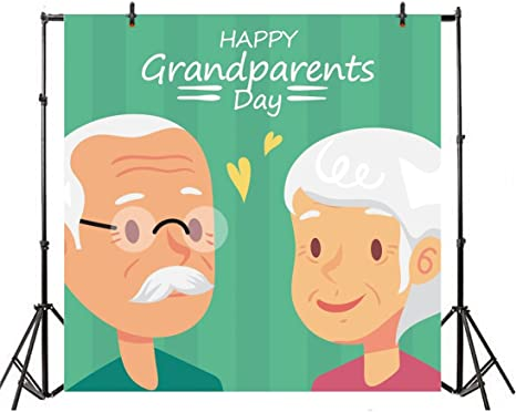 LFEEY 10x10ft Happy GrandparentsDay Photo Backdrop for Parties Old Couples Customizable Background Cloth for Photography Lovers Golden Wedding Anniversary Photo Studio Props