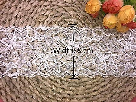 Ajuste de encaje de bordado elástico con Patrón de Lace en 8cm de ancho Cortina, Manteles, Funda que se puede quitar, Ropa de bricolaje nupcial/Accesorios (5 yardas en un paquete) (blanco)