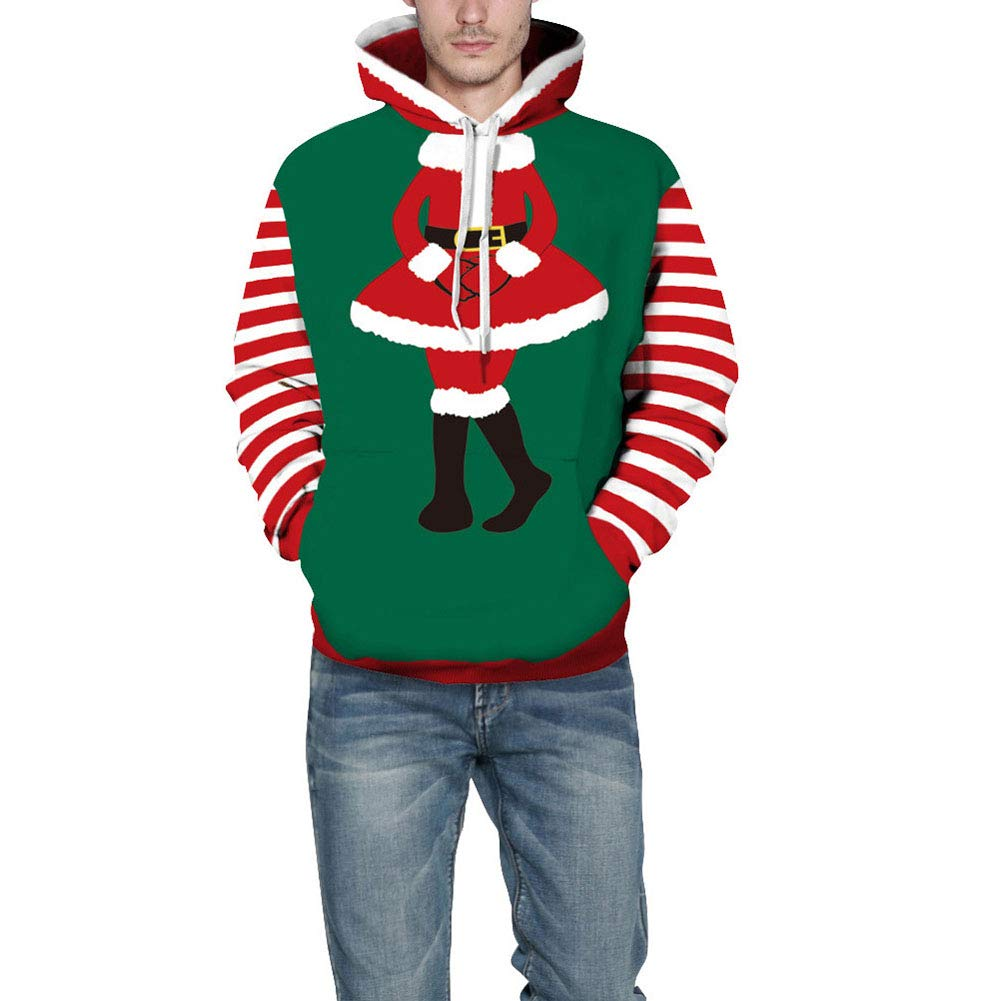 preliked Christmas Hooded with Santa Claus Striped Pattern Men Women Long Sleeve Sweatshirt Hoodies