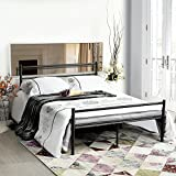 full size bed frame box - GreenForest Bed Frame Full Size, 10 Legs Mattress Foundation Two Headboards Platform Box Spring Replacement, Black
