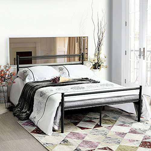 GreenForest Bed Frame Full Size, 10 Legs Mattress Foundation Two Headboards Platform Box Spring Replacement, Black ()