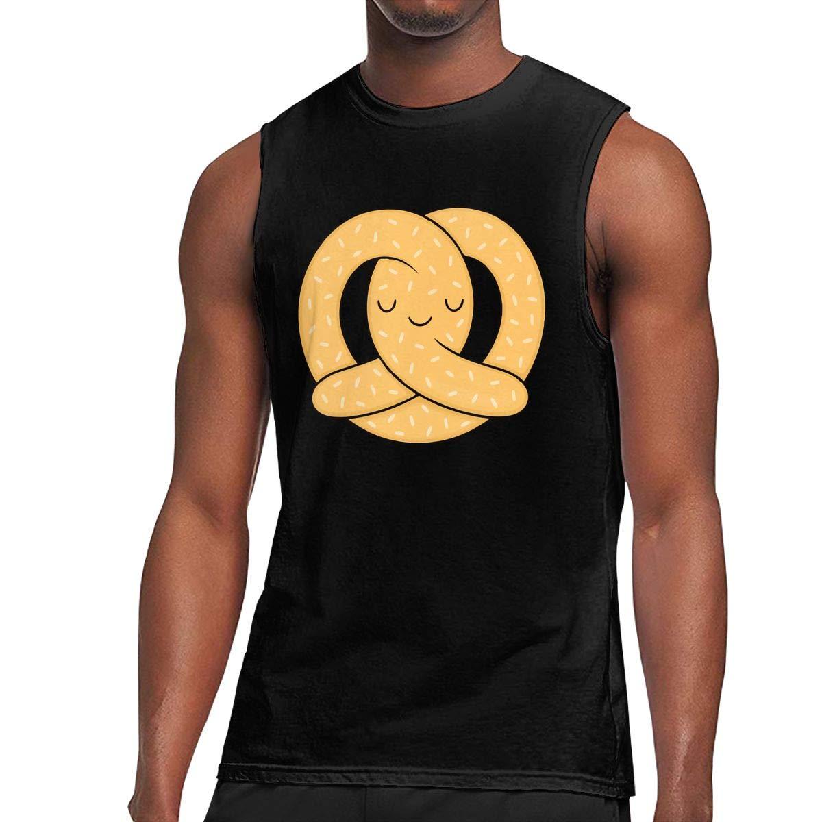 DOULADOU Happy Pretzel Mens Tank Tops 3D Printed Tank Top Jersey Casual Vest T Shirt