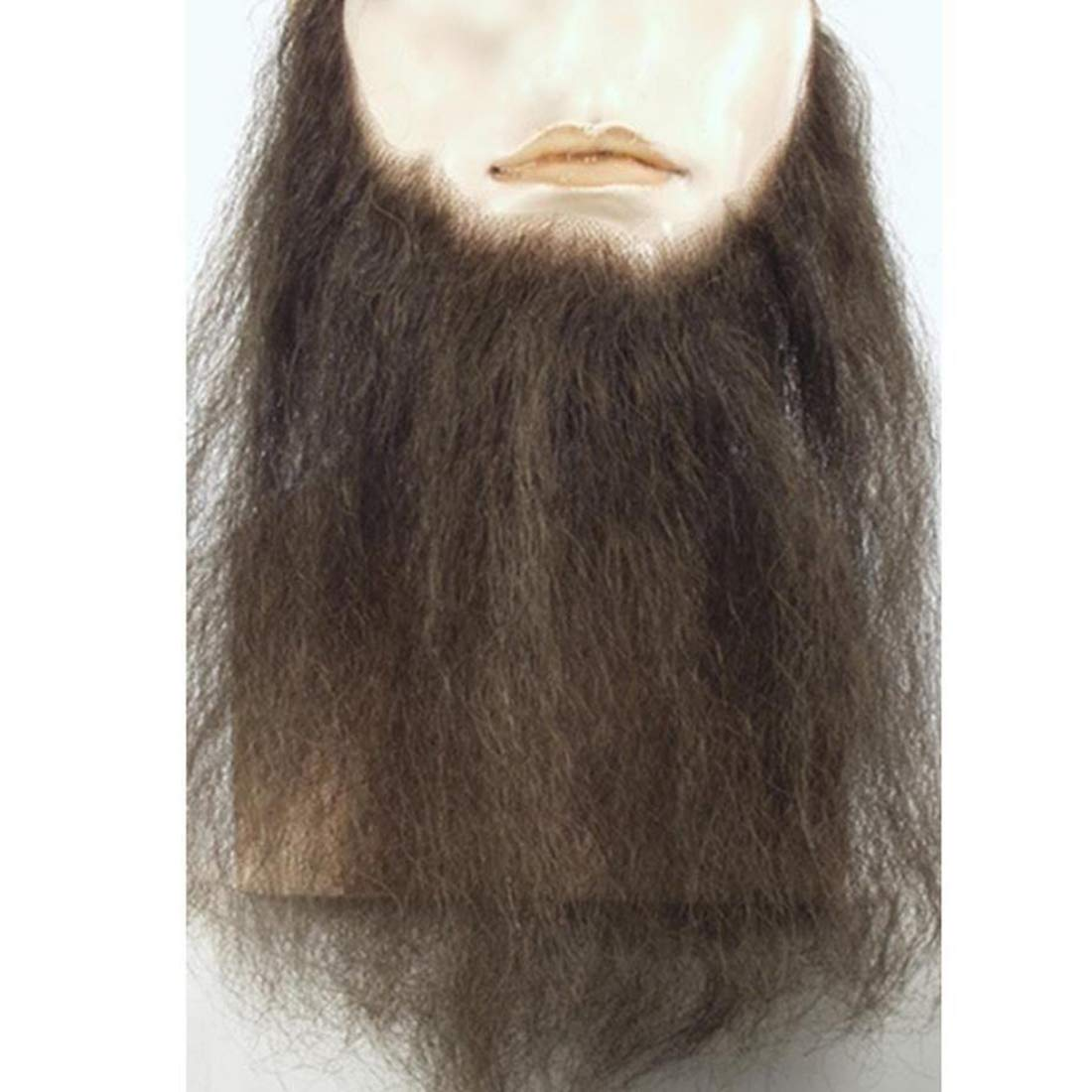 Lacey Wigs Human Hair Mens Duck Dynasty Hand-Made Fake Facial Biker Amish Bundle with MaxWigs Hairloss Booklet 10 Long Full Face Beard Color Light Brown