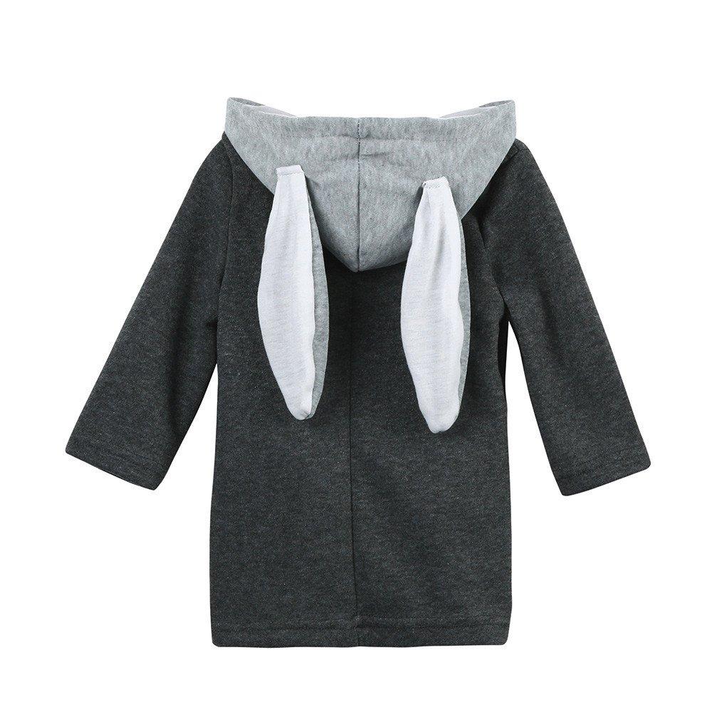 XXYsm Kinder Mantel Mit Kapuze Baby Mädchen Jacke Kapuzenmantel Herbst Winter mit Ohren Dicke Warme Kaninchen Kleidung