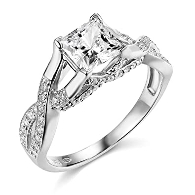 14k white gold solid princess square wedding engagement ring size 4 - Square Wedding Ring