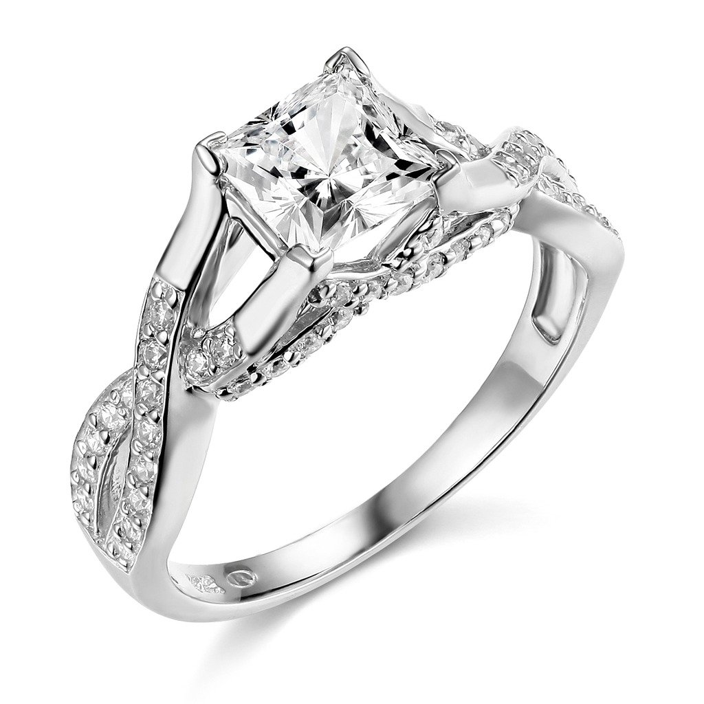 14k White Gold SOLID Princess Square Wedding Engagement Ring - Size 6.5