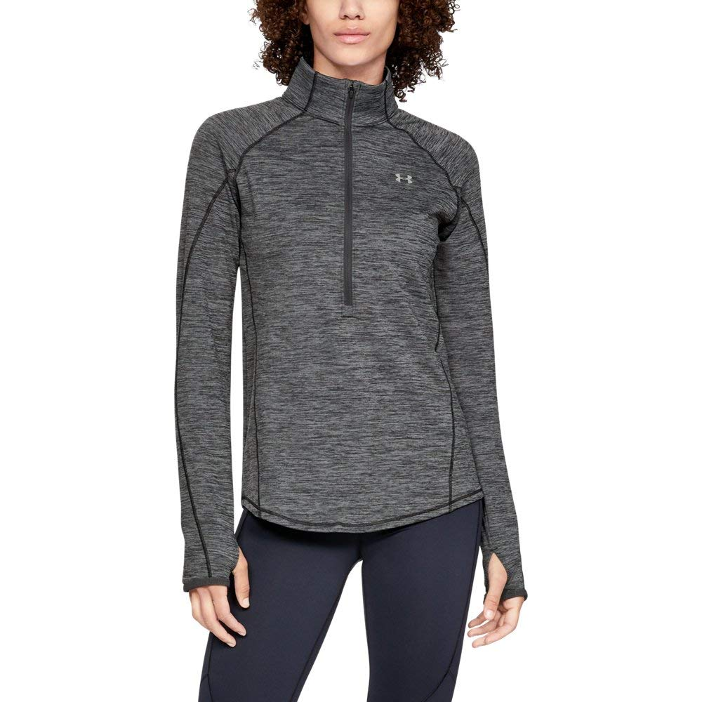Under Armour Women's Coldgear Armour 1/2 Zip, Charcoal Light Heath (020)/Metallic Silver, X-Small