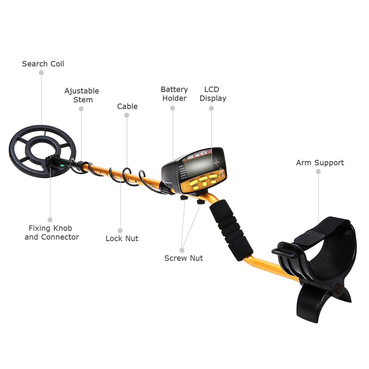 Amazon.com : NALANDA Metal Detector, 18khz Treasure Hunters Gold Finder with LCD Display 5 Detection Modes Adjustable Sensitivity and Submersible Search ...