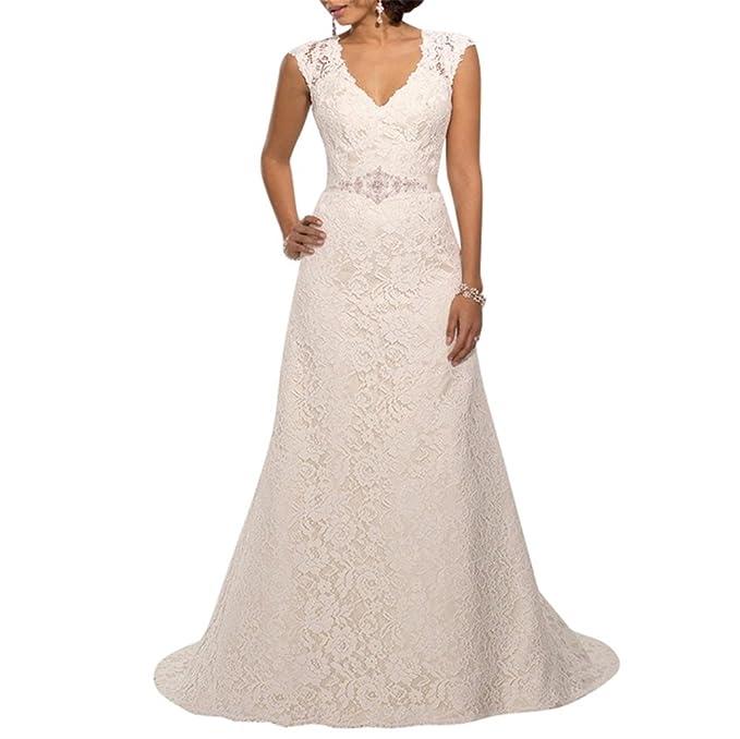 XUYUDITA Cuello en V una lšªnea de encaje vestido de novia con fajas elegante vestidos de novia vestidos de novia: Amazon.es: Ropa y accesorios