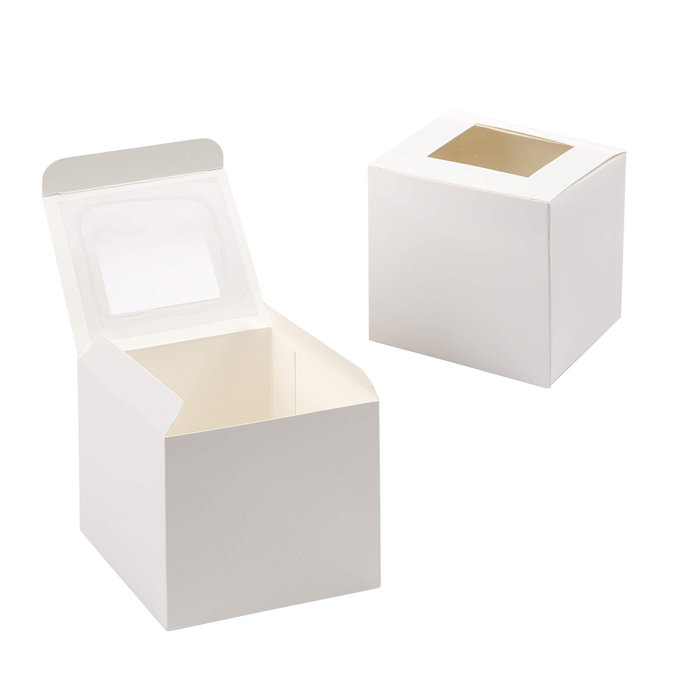 Darice Individual White Cupcake Box with Acetate Window, 12 pack