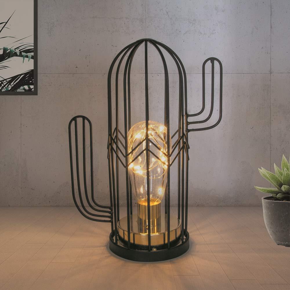 THE HOME DECO FACTORY LA9968 Lampe /à Poser Cactus Led 18 cm M/étal Noir