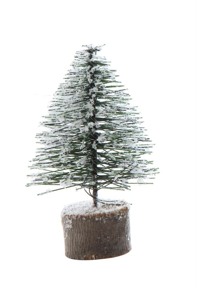 Heart of America Artificial Tree With Wood Slice Base Snow Finish - 6 Pieces