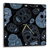 3dRose LLC dpp_110444_3 Wall Clock, 15 by 15-Inch, Blue Sugar Skulls Day of The Dead Art For Sale