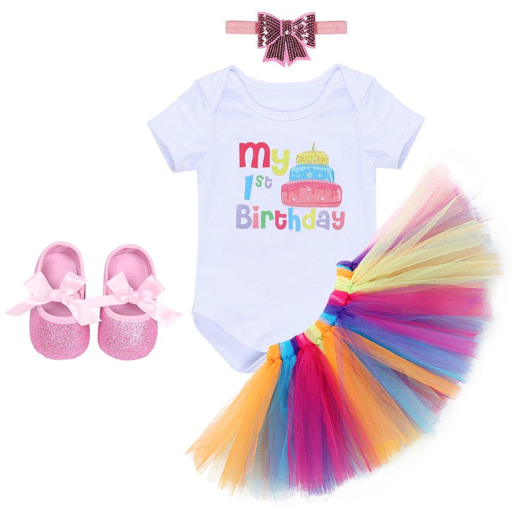 IWEMEK Baby Girls 1st Birthday Cake Smash Unicorn Crown Romper Tutu Skirt Outfits