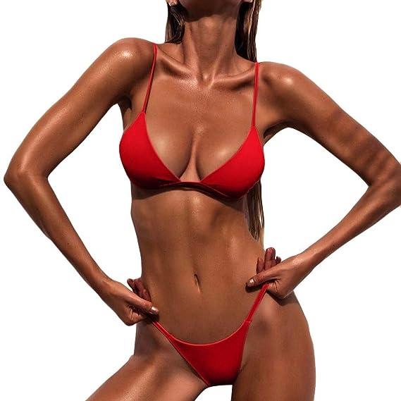 a6690b743acf0 Amazon.com  Fanteecy Women s Sexy Bikini Sets Push up Padded Swimsuit  Triangle Swimwear High Leg Thong Bathing Suits  Clothing