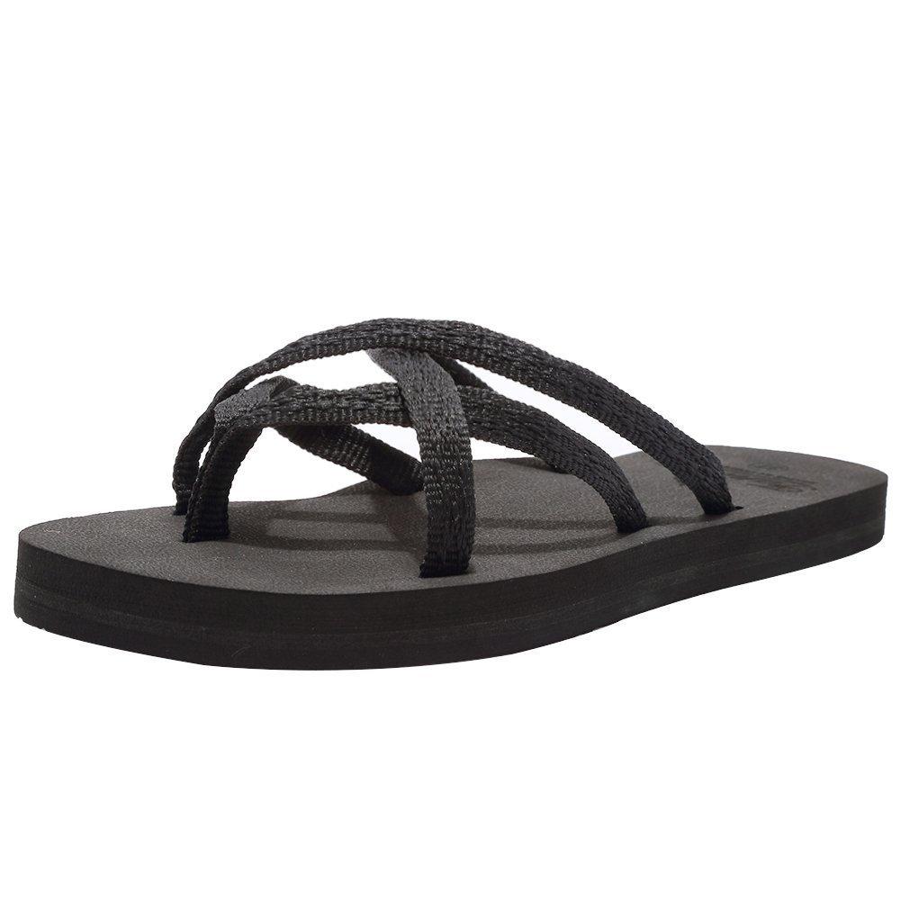 CIOR Women's Flip-Flop Flat Sandals Lightweight Comfortable Shoes Outdoor and Indoor TX021,Mix.Black,37