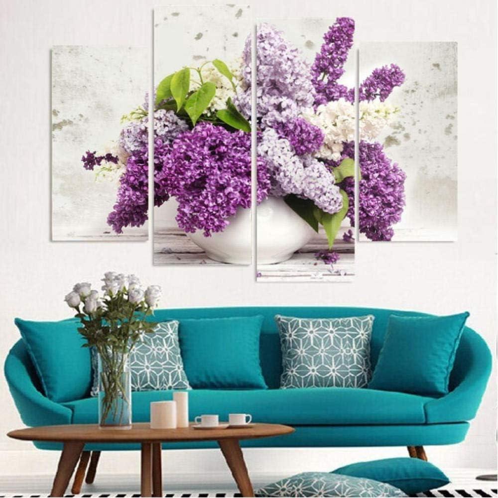 4 paneles lienzo pintura lilas púrpuras flores lienzo cuadro pintura decoración del hogar impresión cartel arte de la pared 30X60Cmx2 30X80Cmx2 sin marco