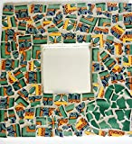 Mosaic Heart Mirror with Ceramic Mexican Tile - 10 inch x 10 inch