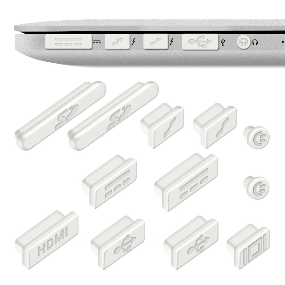 """12x Tapones Anti-Polvo para Apple MacBook Pro 13"""" 15"""" Retina / Air 11"""" 13"""", Protector de Puertos en Blanco, Electrónica Rey® ##i213##"""