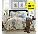 FADFAY French Country Cotton Duvet Cover Sets, Floral Pattern Design,3 Piece Duvet Cover and Pillow Shams Bedding Set, 100% Cotton (Queen Size)