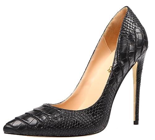 7f963edb417 AOOAR Women's High Heel Snakeskin-Print Party Pumps Shoes