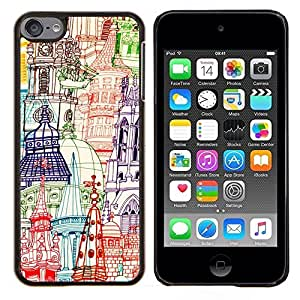 - churches pen art hand drawn - - Modelo de la piel protectora de la cubierta del caso FOR Apple iPod Touch 6 6th Generation RetroCandy