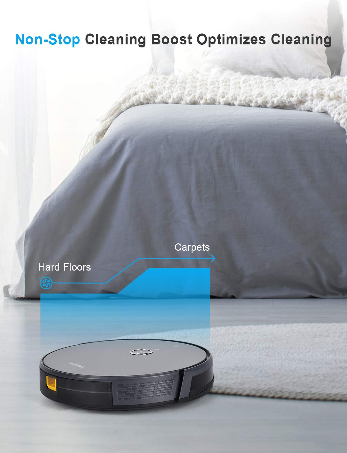 Self-Charging Smart Navigation Mid-Pile Soft Carpets Robot Pet Hair Cleaning 360/° Sensor Protection Robotic Vacuum Cleaner with 1800Pa Ultra Strong Suction Ideal for Hard Floor Super Quiet