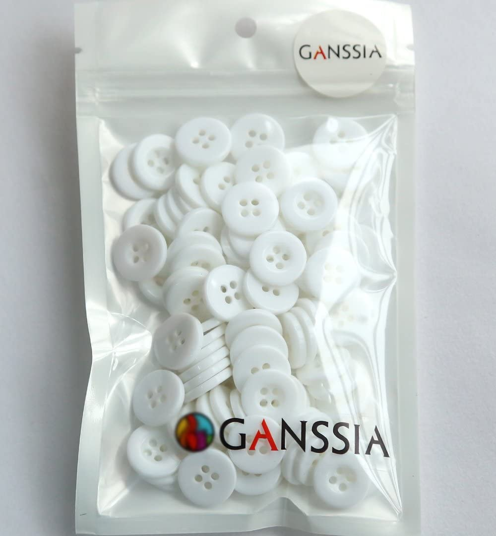 GANSSIA 15mm Button 5//8 Inch 4 Holes Sewing Buttons White Color Pack of 200