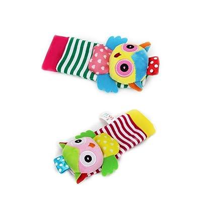 Isuper Calcetines de bebé,Calcetines muñeca sonajeros diseño de Animal búho juquete Infantil Peluche Animal