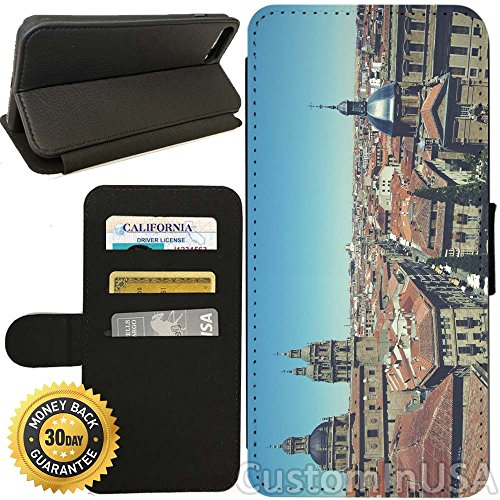 Flip Wallet Case for iPhone 8 PLUS (Old City of Salamanca) with Adjustable Stand and 3 Card Holders | Shock Protection | Lightweight | Includes Free Stylus Pen by Innosub - Salamanca Three Light