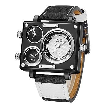 SW Watches Oulm Reloj para Hombre Analogico De Cuarzo,3 Zonas De Tiempo Mostrar Relojes Cuadrados con Correa De Piel 3595 Blanco,White: Amazon.es: Hogar