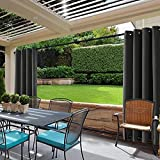 cololeaf Windproof Outdoor Curtain with Top and Bottom Grommet,Water Resistant and Mildew Resistant For Patio Cabana Porch Gazebo Panel Drapery,Black 84W x 102L Inch (1 Panel)