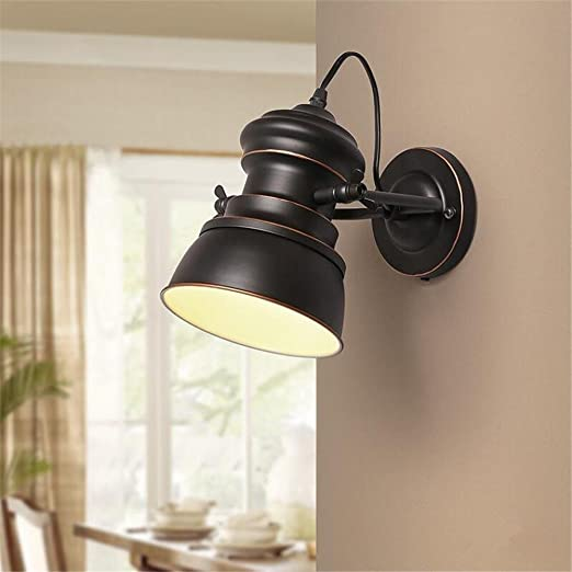 Apliques de Pared Vintage Industrial pared luces pared lámpara pared aplique dormitorio escalera pasillo iluminación Swing brazo forja pared lámpara E27: Amazon.es: Hogar