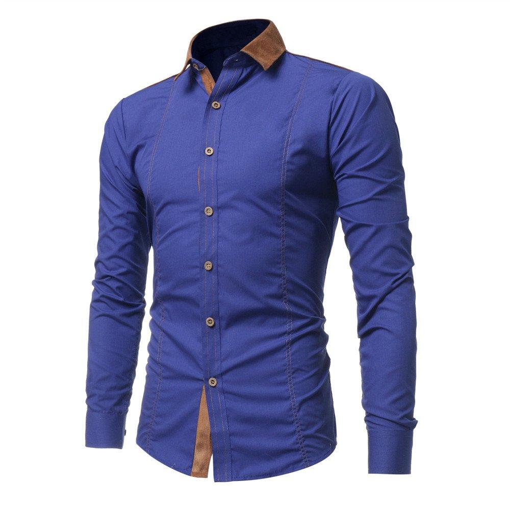 Shirt For Men,Clearance Sale-Farjing Men Fashion Casual Solid Color Long Sleeve Shirt(XL,Blue)