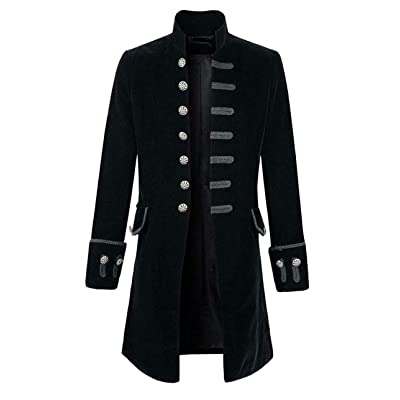 Premium Quality Stylish Mens Black Velvet Goth Steampunk Victorian Frock Coat/USA Sizes at Amazon Men's Clothing store