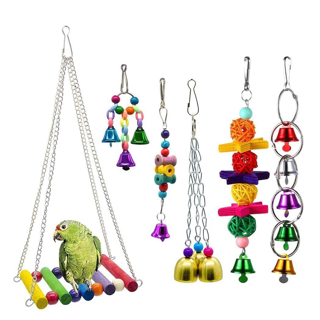 Bealye 6Pcs Parrot Chew Climb Stand Platform Pet Training Toy Bird Cage Hanging Swing Toy by Bealye
