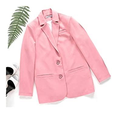 6df7ab8c5d4 Women s Pink Blazer Jacket Office Lady Pocket Design Casual Suit Tops at  Amazon Women s Clothing store