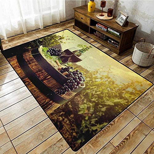 Rectangular Rug,Wine,Scenic Tuscany Landscape with Barrel Couple of Glasses and Ripe Grapes Growth,Extra Large Rug Green Black Brown