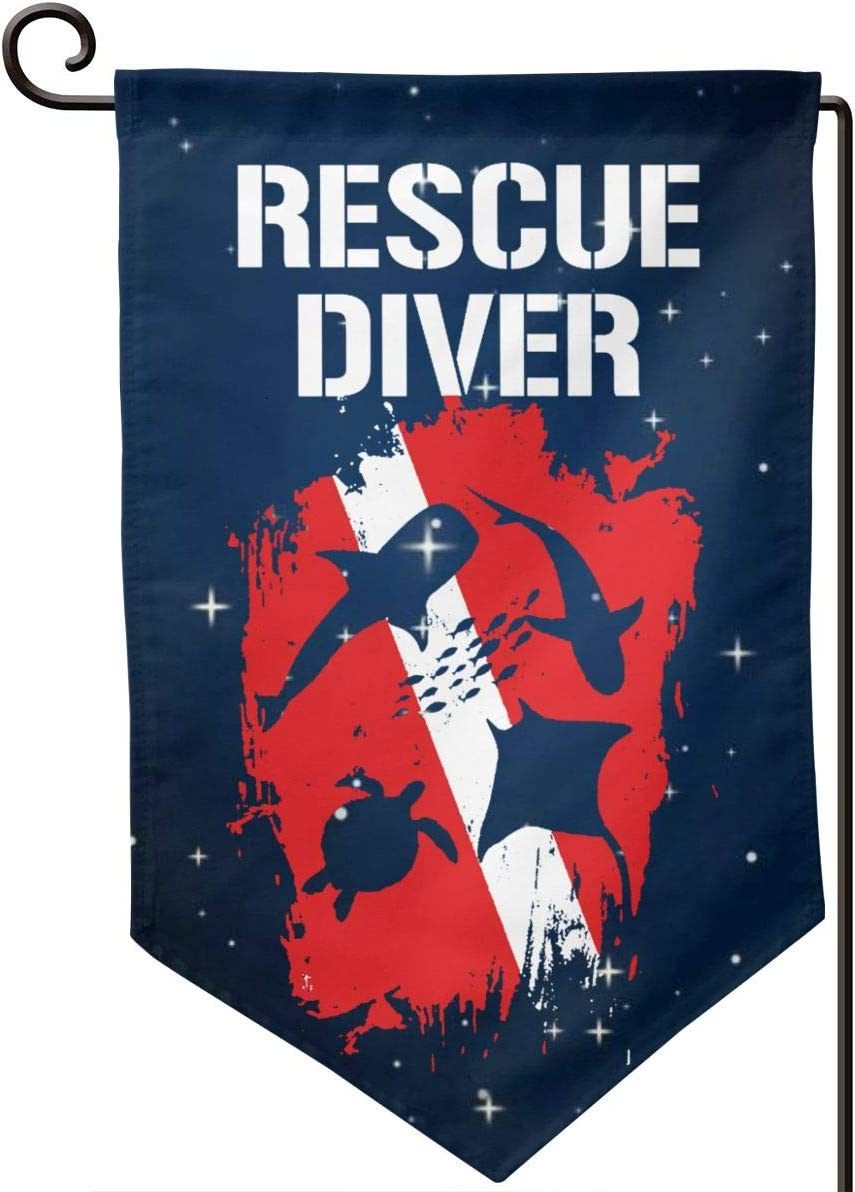 GAJAJAYZXN Rescue Diver Down Flag Garden Flag 12.5 X 18 Inch, Family Outside Yard Decoration Flag