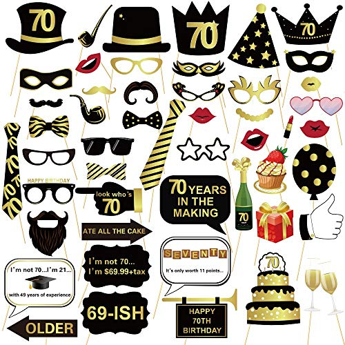 70TH Birthday Photo Booth Props - Gold and Black Bithday Party Decoration Suit Men and Women - -