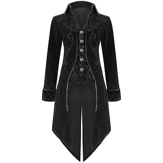 e248832423a Blouson Homme Hiver Mode Mens Habit Veste Goth Steampunk Uniforme Costume  Praty Outwear Coat (2XL