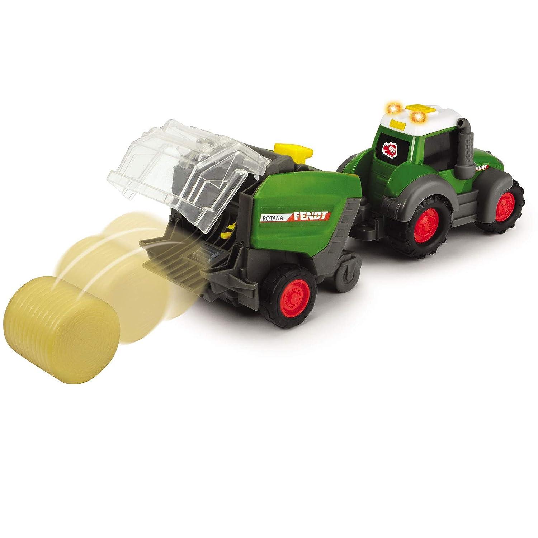 Fendt Traktor Spielzeug f/ür Kinder Fahrzeug Bauernhof Auto Spielzeugtraktor gr/ün Freilauf Fahrzeug Set ab 1 Jahr Kunststoff Anh/änger Heuballen Presse Trecker Licht und Sound Ernte Bauer Landwirtschaft